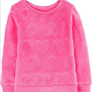 Carter's Fuzzy Hot Pink Heart Sweatshirt